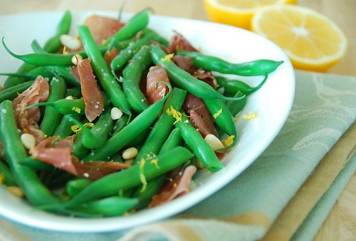 Green beans with prosciutto, pinenuts, and Meyer lemon