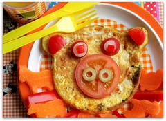 little pig (C.Mariani) Tags: autumn food cute green cooking glass face kids tomato children lunch happy pig october funny juice olive plate indoors meal eggs carrots colourful radish paprika cutlery omelette vitamins oranje mycreation abigfave