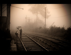 Train tracks (Ervin Bartis) Tags: fog train umbrella traintracks tracks trainstation srilanka hillcountry haputale outstandingromanianphotographers
