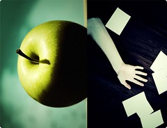 every apple has a dark side (Stephen.James) Tags: eve music adam apple by dark photography james xpro diptych darkness floor arm good side creative inspired evil stephen every bible hart related inspirational temptation ideas rounded has thefall imaginative adamandeve edges concepts goodandevil cheapprints photobacks youmustmakethechoice creativexpro