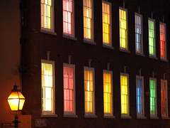 The House of Many Colours, Nottingham by Night (DaveKav) Tags: city nottingham uk greatbritain windows england urban night lights colours unitedkingdom britain multicoloured olympus fluorescent gb georgian colourful nottinghamshire fluorescentlights e510 fourthirds abigfave lowpavement goldstaraward lowpavementstreet