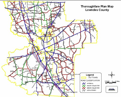 Thoroughfare Map, Lowndes County, Georgia