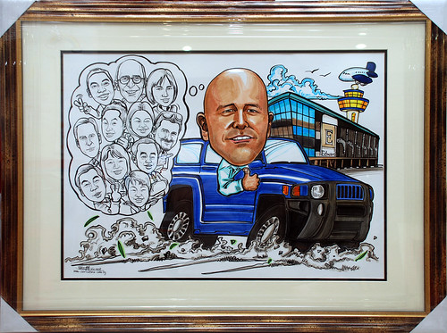group caricatures for Edwards Lifesciences colour with frame