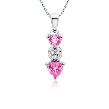 Heart Pink Sapphire with Diamond Dangling Pendant in 14k White Gold (9/10 ct. tw.)
