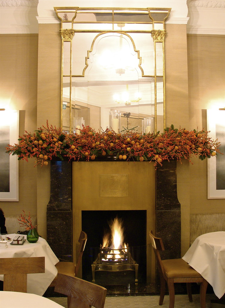 Fireplace arrangement at The Connaught Hotel Christmas 2008