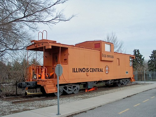 Preserved Illinois Central 1970's era wide vision caboose. Lemont Illinois. Early January 2007. by Eddie from Chicago