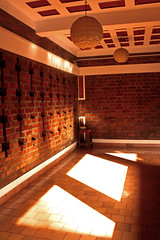 At Adishakti (Sharanya Manivannan) Tags: light shadow india brick architecture rural mud earth interior bricks lamps guesthouse pondicherry lauriebaker adishakti edayanchavadi