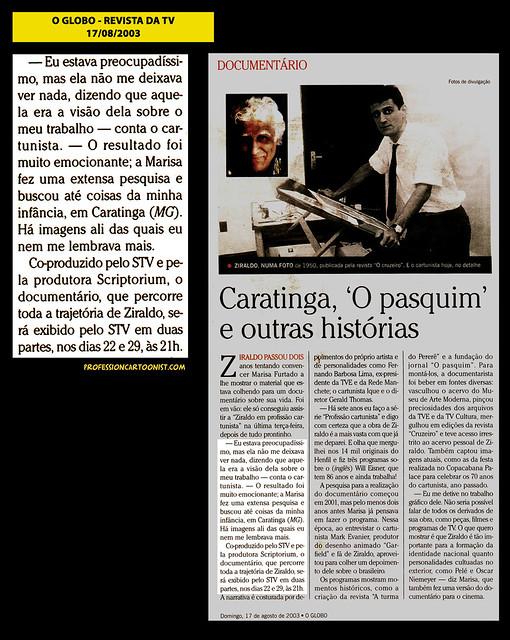 """""""Caratinga, O Pasquim e outras histórias"""" - O Globo - 17/08/2003"""
