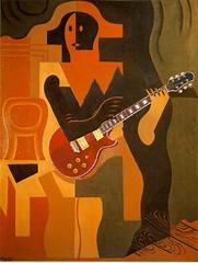 Guitare rouge, après Juan Gris