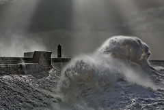 Storm (wentloog) Tags: uk sea lighthouse storm face wales backlight canon contraluz eos coast harbor interestingness gallery waves britishisles wind harbour britain tide cardiff wave anger gale explore angry 5d contrejour controluce wfc porthcawl contrallum bristolchannel canoneos5d giantwave hugewave ef24105f4l wentloog welshflickrcymru stevegarrington world100f reflectedwave