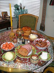 ! - Easter Table with Food from the Basket (jrozwado) Tags: food usa me cheese easter bread basket florida egg sausage ham butter fortlauderdale lamb tradition ukrainian orthodox traditionalculture ethnography paskha pysanky   kovbasa