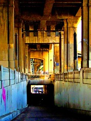 Descent (lefeber) Tags: california city bridge architecture photoshop concrete graffiti la losangeles rust downtown plus pedestriantunnel rustymetal sixthstreetbridge 6thstreetbridge anglesanglesangles colourlicious