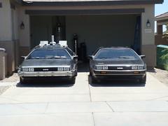 FRONT VIEW BTTF 02 & 10398 (dmc10398) Tags: classic sports car movie back time steel garage bttf engine machine taken future driver delorean dmc12 dmc stainless v6