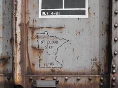 Car History (Tabbymom Jen) Tags: railroad signs car sign rust bn covered 1985 wi hopper bnsf 1961 ballast rebuilt glenhaven cbq
