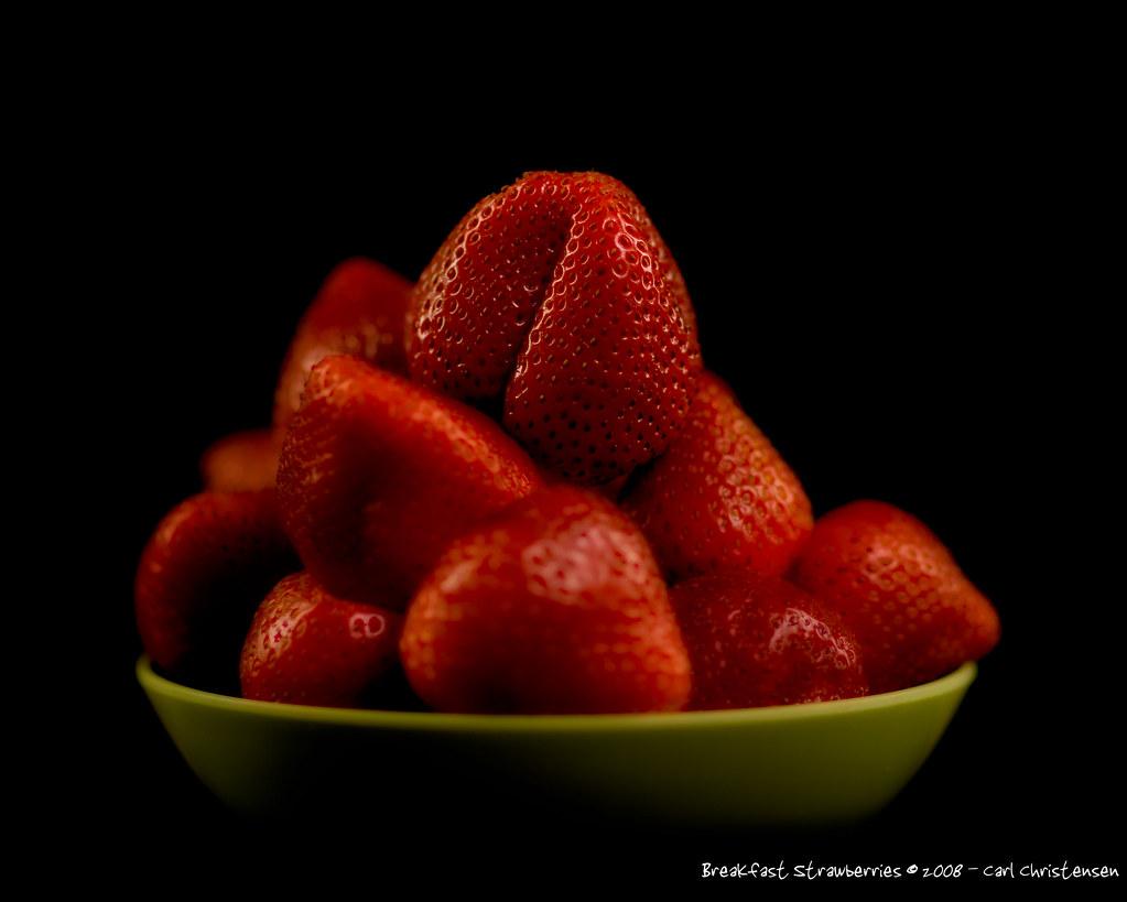 Breakfast Strawberries on Black