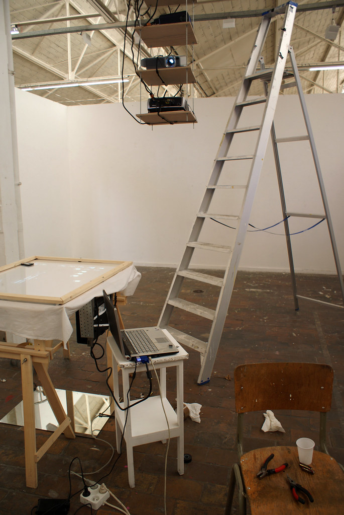Lionel Maes's installation setup for the Master degree show at Erg