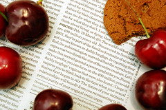 Uncanny Accuracy! (kchbrown) Tags: kitchen cherries funny cookie creepy flashphotography uncanny pisces horoscope countertop strobe ohmy sb24 2008 kcbrownphotography soaccurate spicedwafer primalpurity eroticurges