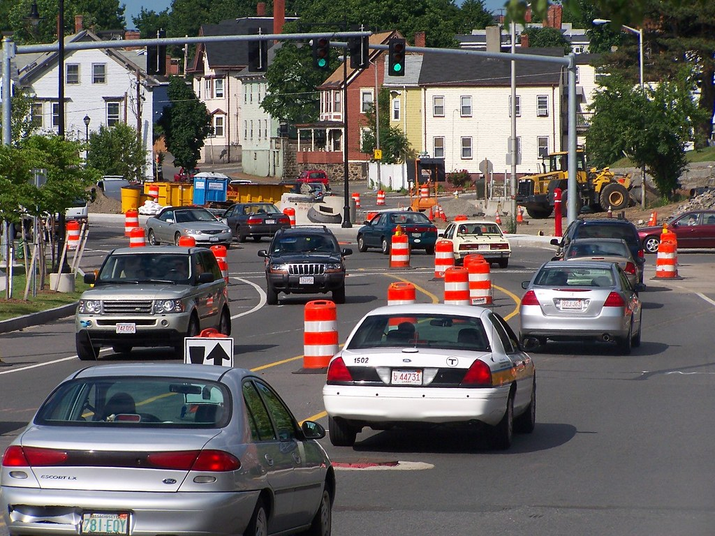 Traffic on Bridge St. six weeks before the bypass road opens
