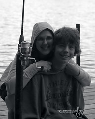Evan and Irene (B+W) (Rock Steady Images) Tags: evan blackandwhite lake ontario canada canon eos 350d rebel xt fishing cottage mother son delta pole wife 200views irene 50views aeropostale 25views bypaulchambers rocksteadyimages