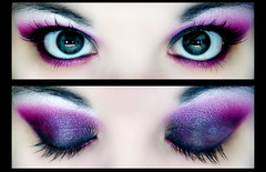 Pink/Black/Purple (Lady Pandacat) Tags: pink color macro eye self ojo mac diptych shiny colorful purple bright fuschia carbon 2008 pigment makeupforever fantabulous pandacat canona570is pandacatbaby tinaangel ladypandacatvonnopants