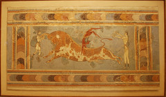 Bull-leaping, fresco from the Great Palace at Knossos, Crete, Heraklion Archaeological Museum (George M. Groutas) Tags: sea summer sun island greece crete 2008 fresco knossos iraklion kriti    greatpalace  bullleaping     heraklionarchaeologicalmuseum    bullleapingfrescofromthegreatpalaceatknossos taurokathapsia