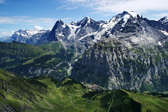 Bernese Oberland Mountains & Murren. Wetterhorn, Eiger, Mnch (Monk), and Jungfrau. (Jim_Higham) Tags: panorama mountain snow ski alps nature switzerland meadow monk canvas alpine peaks eiger slope bernese ogre jungfrau mnch oberland schilthorn nordwand eigerwand wetterhorn murren birg blueribbonwinner specland golddragon mywinners northfaceoftheeiger panoramafotogrfico shreckhorn birgstation thenorthfaceoftheeiger