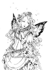 Victorian fairy ink drawing