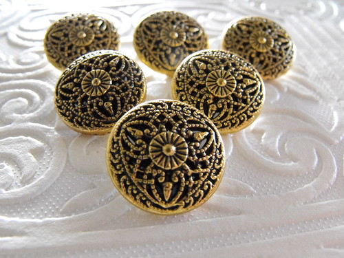 Six Highly Ornate Mirrored Antique Brass Shank Buttons