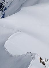 Striking Our Alone (nickphotos) Tags: outcrop white snow france mountains alps de nikon alone knife rocky du glacier ridge edge lone climber peaks midi chamonix mont blanc vr mountaineer massif hautesavoie 70300 aiguille