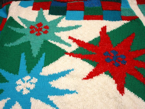 intarsia knit fabric closeup