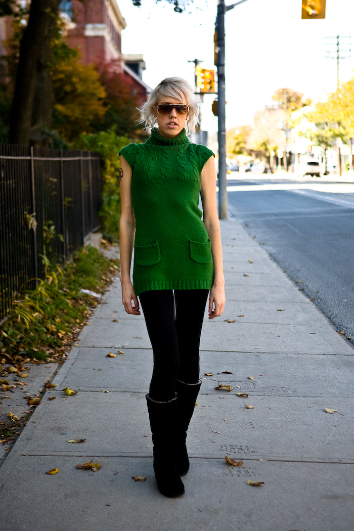full length, tattoo, street fashion, Toronto, brown boots, sunglasses, green sweater, photo by Krist Papas/whatsyourpersona.com