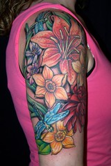 floral collage tattoo (maliareynolds) Tags: flowers atlanta flower lily dragonfly tattoos lilies daffodil daffodils memorialtattoo maliareynolds femaletattooer atlantatattooer