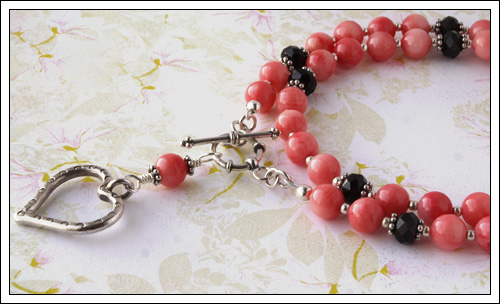 Pink coral & black onyx necklace