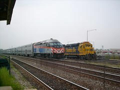 Two eastbound trains meet. Cicero Illinois. September 2007.