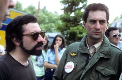 1976 --- Martin Scorsese and Robert DeNiro on the set of (huangjr_cinegoer) Tags: people men set movie outfit clothing uniform performingarts performing acting americans males prominentpersons actor celebrities travisbickle martinscorsese whites directing performer adults movieset robertdeniro moviedirector midadult midadultman 2andgroup fictionalcharacter militaryuniform taxidrivermotionpicture1976