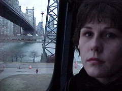 On the cablecar to Roosevelt island. NY 1999. (LeanneVeitch) Tags: usa newyork spiderman cablecar newyork1999 rooseveltislandbridge spidermanmovie newyorkcablecar spidermancablecar