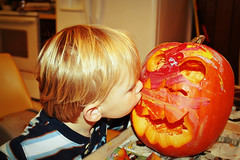 Kissing his pumpkin