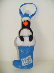 Penguin Ornament-Baby First X-Mas (Funky Shapes) Tags: christmas uk baby cute kids children unique funky felt gift kawaii etsy dsm keepsake folksy misi