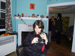 jennie w. two drinks. (stephiblu) Tags: november autumn party guests fun nj montclair 2008 autumnball autumnball2008 tichenortichenors