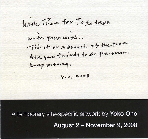 """Wish Tree for Pasadena"" by Yoko Ono - <span id=""misspelled"">Flyer</span> - front"