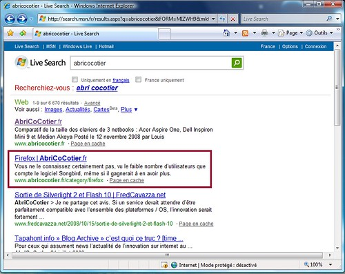 AbriCoCotier.fr sur MSN Live Search