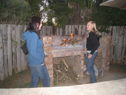 Stefanie (left) and Karin (right) by the braai fire
