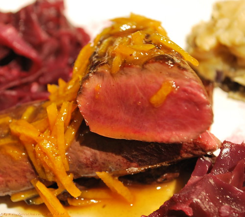 Hare filet with candied orange peel