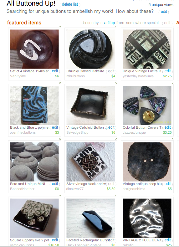 All Buttoned Up!  Treasury by Scarfitup!