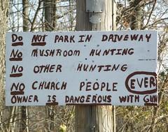 Hoosier Hospitality (Hammer51012) Tags: park people church mushroom sign warning geotagged dangerous funny humorous gun hunting olympus owner hoosier flickrenvy sp570uz