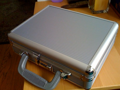 received a locked metal briefcase