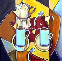 Tea And Coffee 24x24 - Karen Sloan (Karen @ Wall Flower Studio) Tags: food brown abstract cup coffee yellow dish tea interior spoon kitsch mug cubism