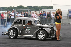 Ultimate Street Car (Santa Pod) - Terry Grant Scaring Chick (www.bazpics.com) Tags: show santa street camping england car race drag pod northampton ultimate grant racing event terry barry quarter burnout legend baz mile diff tvr drift dragster flamer oneil fireforce poddington bazpics barryoneil