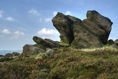 England: Peak District. Rocket Launchers (Tim Blessed) Tags: uk sky nature landscapes countryside scenery rockformations peakdistrictnationalpark moorland singlerawtonemapped