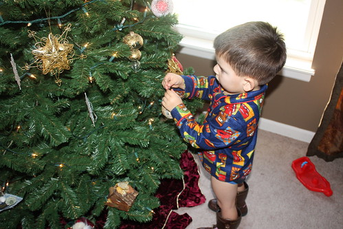 dominic decorating the tree